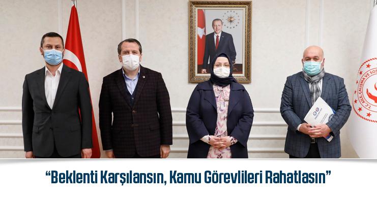 Memur-Sen Genel Başkanı Ali Yalçın, Çalışma Bakanı Selçuk'la Görüştü