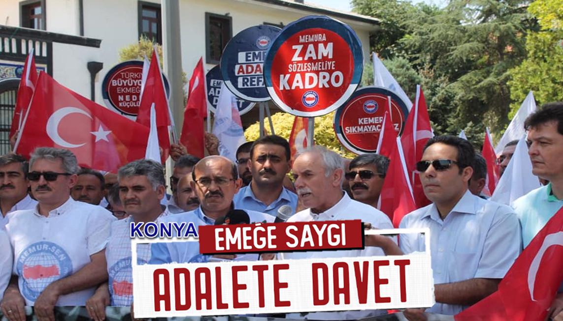 """Memur-Sen Konya'da """"Emeğe Saygı, Adalete Davet"""" Açıklaması Yaptı"""