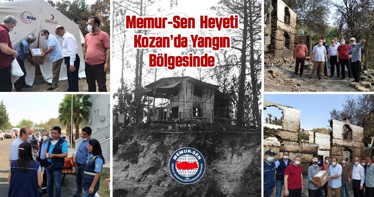 Memur-Sen Heyeti, Kozan'da Yangın Bölgesinde
